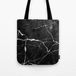 Black Suede Marble With White Lightning Veins Tote Bag