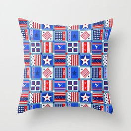 4th July Patchwork Throw Pillow
