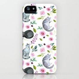 Watercolor Cats and Flowers Pattern iPhone Case