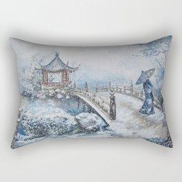 Snowstorm (Watercolor painting) Rectangular Pillow