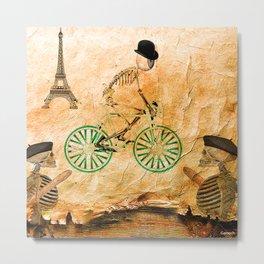"""Monsieur Bone and """" le  Tour de France """" Metal Print"""