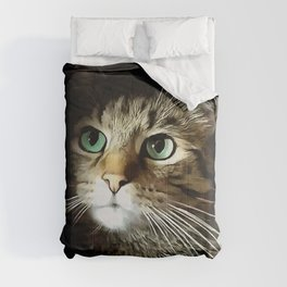 Tabby Cat With Green Eyes Isolated On Black Comforters