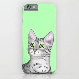 Egyptian Mau (Green Background) iPhone Case