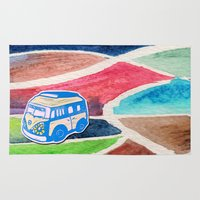 vw bus Area & Throw Rugs featuring VW Bus Campervan by Carrie at Dendryad Art
