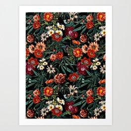 Marijuana and Floral Pattern Art Print
