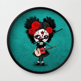 Day of the Dead Girl Playing Maltese Flag Guitar Wall Clock