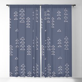 Modern Minimalist Triangle Pattern in Slate Blue Blackout Curtain