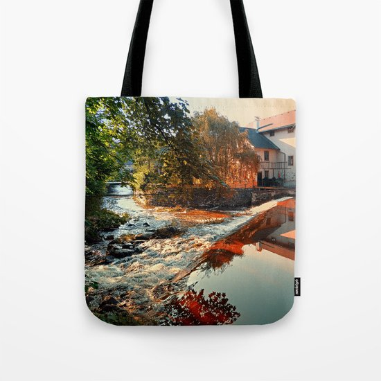 The river, a country house and reflections | waterscape photography Tote Bag