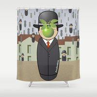 magritte Shower Curtains featuring Kokeshi Magritte by Pendientera