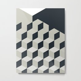 Gradient Cubes – Ebony Black / Warm Gray Abstract Print Metal Print
