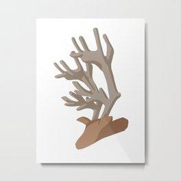 Deer bending with Antlers in brown Metal Print