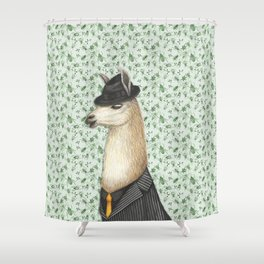Gangster Llama in a Fedora and pinstriped suit Shower Curtain