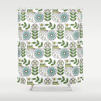 mid century Shower Curtains featuring Mid Century Danish Bird by MidPark Prints