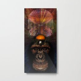 The Primate the mushroom and the Buddah Metal Print