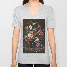 Vase with flowers - Jan Davidsz. de Heem (1670) Unisex V-Neck