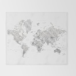 Light grey and brown marble world map Throw Blanket