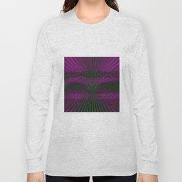 Wild Emerald Green Purple Circle 3D Abstract Long Sleeve T-shirt