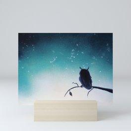Owl Silhouette Mini Art Print
