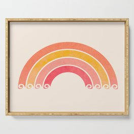 Whimsical Vintage Rainbow Waves Serving Tray