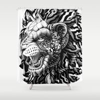 bioworkz Shower Curtains featuring Lion by BIOWORKZ