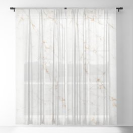 White Marble with Delicate Gold Veins Sheer Curtain