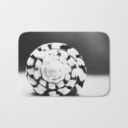 Black and White Seashell Photography, Shell Photo, Neutral Beach Art, Black White Coastal Photo Bath Mat