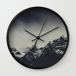 Misty Dark Mountains Wall Clock