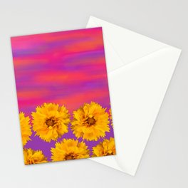 Yellow Floral Sunset Stationery Cards