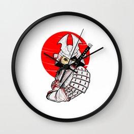 Japanese Samurai Cat Katana - Japanese Bobtail Cat Anime T-Shirt Wall Clock