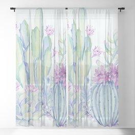 Mixed Cacti Light Blue #society6 #buyart Sheer Curtain