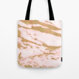 Pink marble with gold sparkles Tote Bag