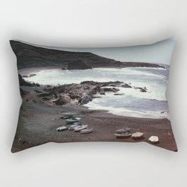 Boats on a beach Rectangular Pillow