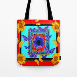 SOUTHWEST RED-BLUE BUTTERFLIES-SUNFLOWERS Tote Bag
