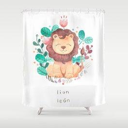 Lion Nursery Illustration Shower Curtain