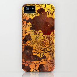 Japanese Stencil Pattern #1 | Floral Watercolor Design in Brown & Yellow Gold iPhone Case