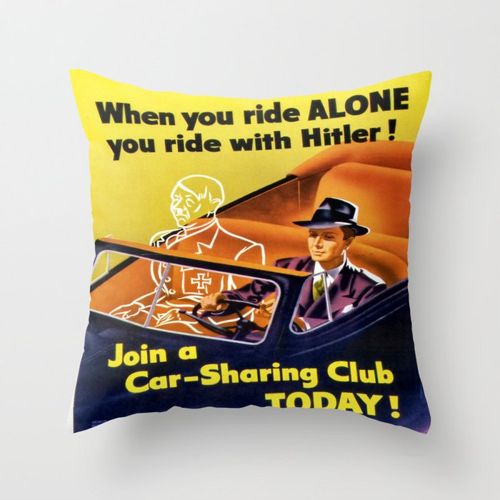 Vintage poster - Car-Sharing Club Throw Pillow