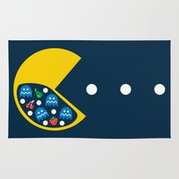 8 bit Area & Throw Rugs featuring 8-Bit Breakfast by Byway