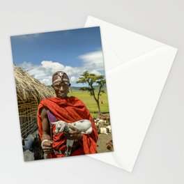 Maasai 4279 Tribesman with Goat Stationery Cards