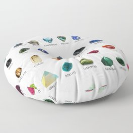 Crystals and their names Floor Pillow