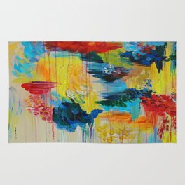 VANCOUVER RAIN - Stunning Rainbow Colorful Bold bright Rain Clouds Stormy Day Wow Abstract Painting Rug