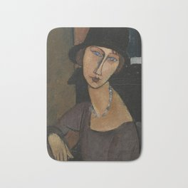 Modigliani - Jeanne Hebuterne With Hat And Necklace Bath Mat