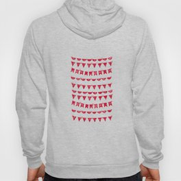 Red and White French script bunting Hoody