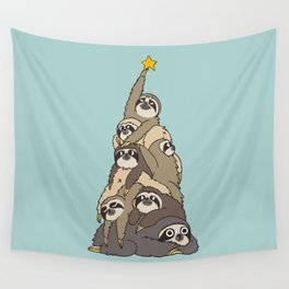 Christmas Tree  Sloths Wall Tapestry