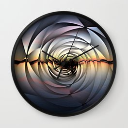 Island Sunset on Abstract Rose Wall Clock