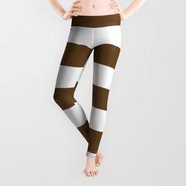 Otter brown - solid color - white stripes pattern Leggings
