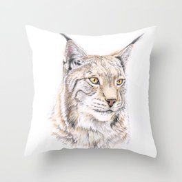 Lynx - Colored Pencil Throw Pillow