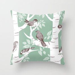 Birch Birds Throw Pillow