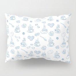 Tea time blue on white Pillow Sham