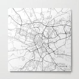Krakow Map, Poland - Black and White Metal Print