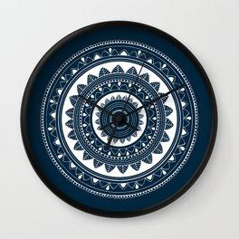 Ukatasana white mandala on blue Wall Clock
